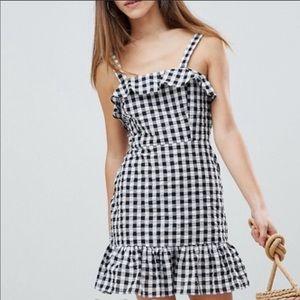 NWT Asos black and white gingham mini dress